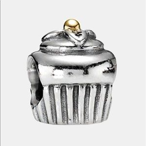 Authentic Pandora Cupcake Charm - Silver and Gold